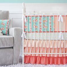 Caden Lane's gradient coral ruffle crib skirt - LOVE for coral and aqua nursery design ideas