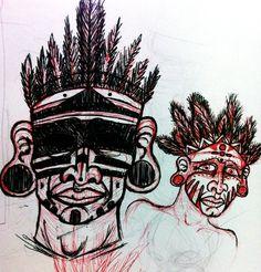 Taino Warrior Heads by y-o-u-f.deviantart.com on @deviantART