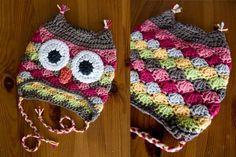 crochet owl hat.