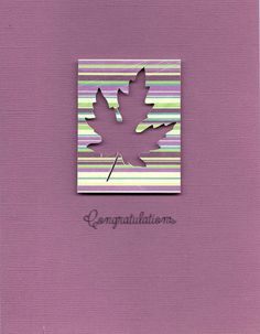 handmade retirement card ... purple ... clean an simple ... negative die cut leaf on striped paper rectangle over solid purple ... like the effect ...