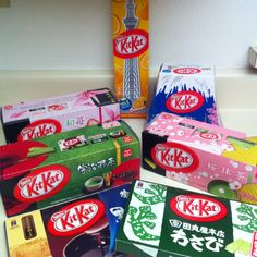 Japanese KitKat; green tea cherry blossom, orange, syrup, blueberry cheesecake, green tea, strawberry, and wasabi flavors.