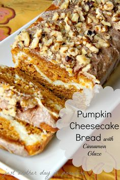 Pumpkin Cheesecake Bread with Cinnamon Glaze Oh So Good!!