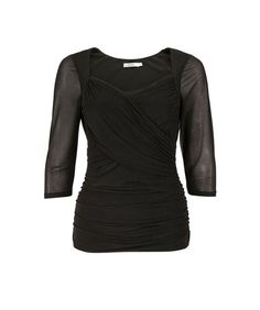 Ruched Sweetheart Neckline Top, Black - Ricki's