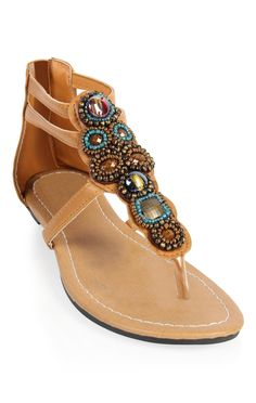 Deb Shops stone and bead strap sandal