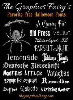 "From the queen of everything graphic & wonderful & FREE, The Graphics Fairy, lists her ""Frightfully Good Free Halloween Fonts."" Yay! It's fall!!"