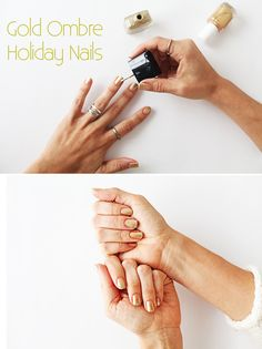 Use a metallic-based gold, like Essie's Shifting Power, for the first coat of polish on your nails. Let it dry. Then, use a shimmery gold glitter polish, like Butter London's The Full Monty, to paint an ombre effect on the top part of your nails. Stroke toward the nail bed but don't go past the middle of your nails. http://www.ehow.com/ehow-style/blog/3-festive-nail-styles-to-try-this-holiday-season/?utm_source=pinterest&utm_medium=fanpage&utm_content=blog