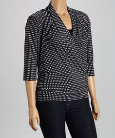 Loving this Black & White Dot Surplice Drape Top - Plus on #zulily! #zulilyfinds