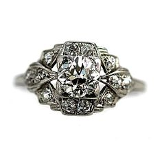 Antique Old European Cut Diamond Platinum Engagement Ring Circa Early 1900's