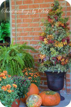 Create a tomato cage topiary for the #fall season #FallDIY ~ @bystephanielynn