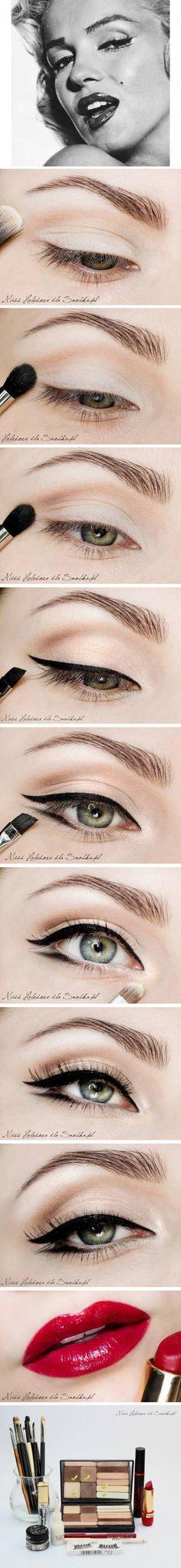 pin up makeup, makeup tutorials, beauty makeup, marilyn monroe, eye makeup, cat eyes, everyday style, red lips, eye liner