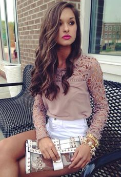 Nude lace accent top summer outfit fashion  #swoonboutique