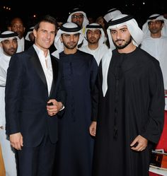 Actor Tom Cruise (L) and Sheikh Hamdan bin Mohammed Al Maktoum of Dubai (R) during 'Mission: Impossible - Ghost Protocol' Premiere day one of the 8th Annual Dubai International Film Festival at the Madinat Jumeriah Complex on 07 Dec 2011 in Dubai, UAE