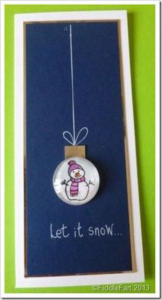 Let It Snow Christmas Bauble Card with Cabouchon embellishment