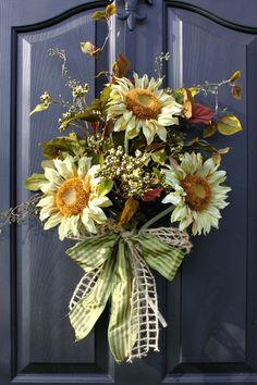 Sunflower Wreath   Wreaths  Summer Wreaths for by OurSentiments, $60.00