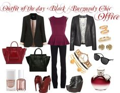 """Outfit of the day - Black / Burgundy Chic Office"" by bunnyfashion on Polyvore"