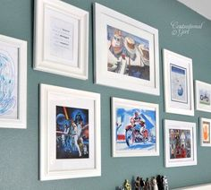 Love this gallery wall for a boys room - see the potential - dinosaurs, star wars, legos - all the things he loves but in matching photo frames as decor for the room