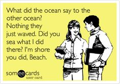 Funny Friendship Ecard: What did the ocean say to the other ocean? Nothing they just waved. Did you sea what I did there? I'm shore you did, Beach.