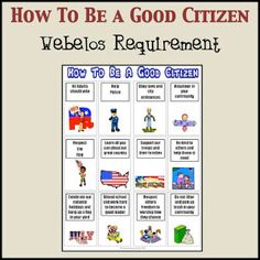 Notebooking Nook: How To Be a Good Citizen - Webelos Requirement