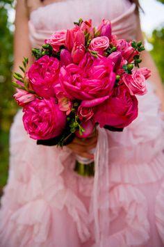 deep pink peonies & roses