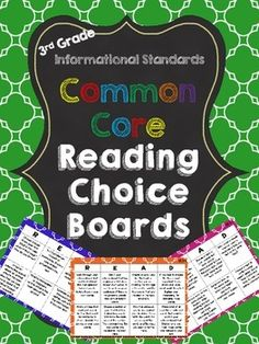 3rd Grade Common Core Reading Choice Boards! One board with 8 tasks per standard. $