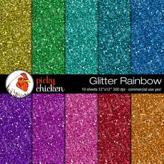 Glitter Rainbow Digital Scrapbook Paper   12x12 by pickychicken, $3.60
