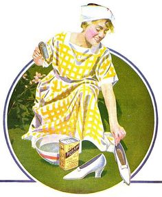 A charming, cheerfulyl hued ad from 1920 for Bon Ami cleaning powder. #vintage #ad #1920s #homemaker #housewife #chores