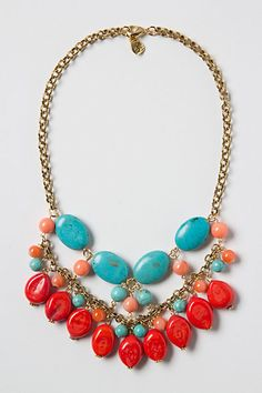 "Ithaca Web Necklace by Anthropologie  //  ""a handful of turquoise cabochons and vibrant red-orange stones, foraged from the riverside Lobster clasp Glass, 12k gold plated metal. 16""L 3.5"" bib. Handmade in USA"""