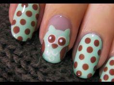 Cute Owl Nail Art (video tutorial)