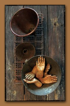Rusty chemistry lab rack. Vintage and antique funnels. One handmade copper. Saints' hands. Prayers for health and rejuvenation. For sunlight and spring. For wellbeing. la-belle-brocante