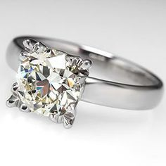 Vintage Conflict Free Old Euro Engagement Ring Near 2 Carat Diamond Palladium