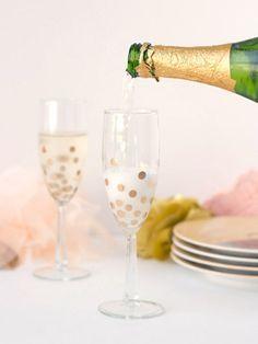 DIY Polka Dot Champagne Glasses