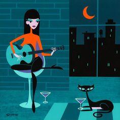 Josh Agle (Shag) Her Last Friend in the City (a black cat)