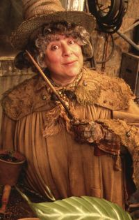 Professor Sprout with her wand drawn.