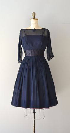 1950's Navy Chiffon Dress