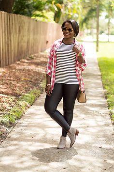 plaid shirt, stripe t-shirt and faux leather leggings
