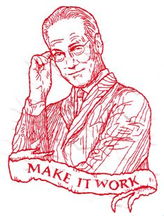 "Realistic #redwork #embroidery Love it! ""Totally Severe Tim Gunn Redwork Embroidery"""