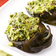 avocado recipes, paleo peppers, poblano peppers, healthi food, paleo stuffed peppers, guacamolestuf poblano, dinner recipes paleo, pepper recip, meal