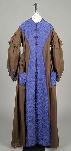 Brown wool and quilted blue silk dressing gown, American, circa 1870.