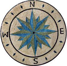 Wind Rose Medallion Mosaic Stone Art Floor Tabletop   eBay