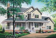 A large wrap-around porch give charm to this three bedroom Farmhouse style home.   Farmhouse House Plan # 181035.