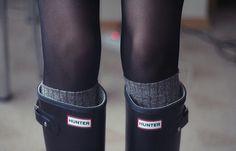 Hunter Wellies, socks, and tights