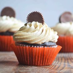 Dark Chocolate Cupcakes topped with Peanut Butter Buttercream