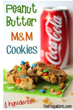 Peanut Butter M and M Cookies! ~ from TheFrugalGirls.com ~ these tasty little cookies can be made in a flash with just 4 ingredients! #peanutbutter #cookie #recipes