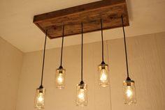 Mason Jar Chandelier - Mason Jar lighting - Upcycled Wood