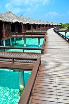 Overwater bungalows at the Sheraton Full Moon Resort Maldives #travel #maldives #islands #overwaterbungalow