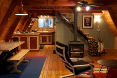 wood burning stoves, cabin living, little cabin, small interiors, cabin life, a frame, hous, cabin interiors, tiny cabins