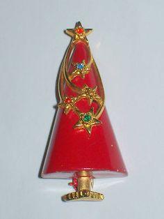 Vintage Art Mod Red Enamel Rhinestone Christmas Tree Brooch | eBay