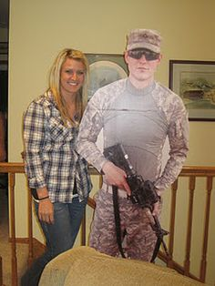 Ladies missing your Soldier?  How about a cardboard cutout?? This is so cute!!