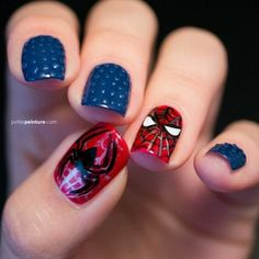 Spiderman Nails #marvel #polish #nails #nailart - bellashoot.com