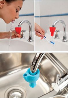 Turn your faucet into a drinking fountain. Eliminate all those little plastic cups for rinsing after brushing!